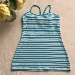 Lululemon blue white yoga tank top size 4